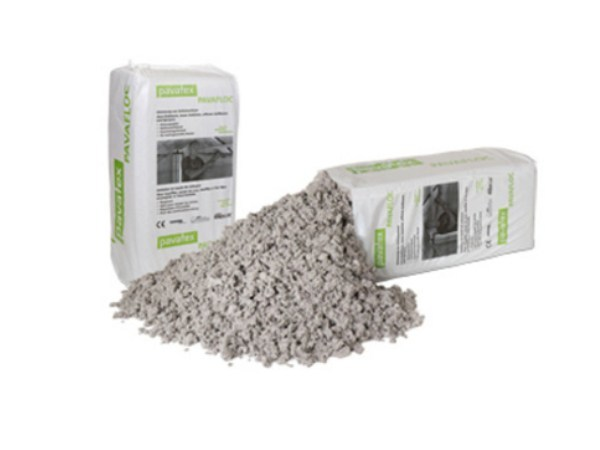 Cork, cellulose and loose vegetable-based insulation PAVAFLOC by Pavatex
