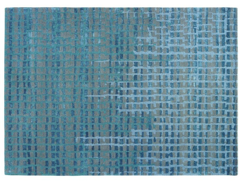 Solid-color rectangular fabric rug PAVE by Toulemonde Bochart