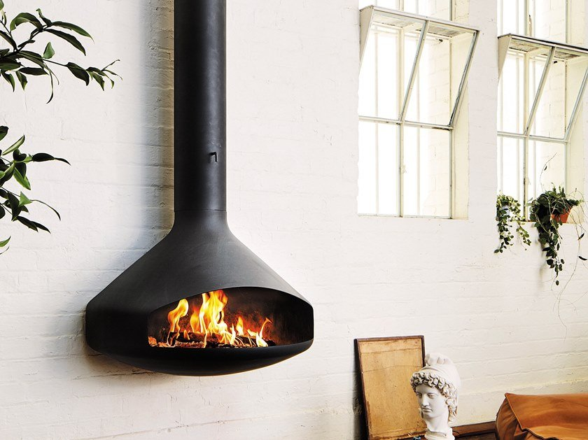 Wood-burning outdoor wall-mounted fireplace PAXFOCUS | Outdoor fireplace by Focus creation