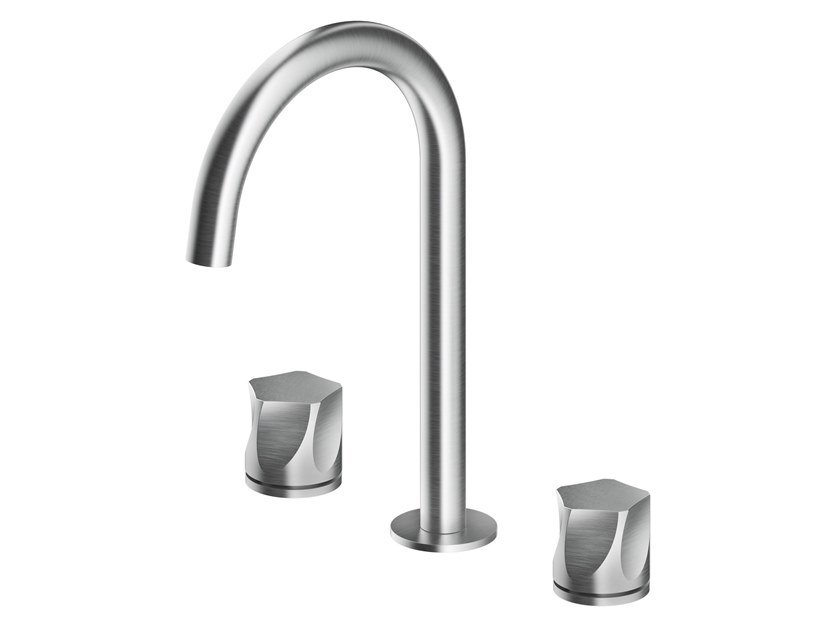 Countertop stainless steel washbasin mixer with individual rosettes PE284 | Washbasin mixer by MGS