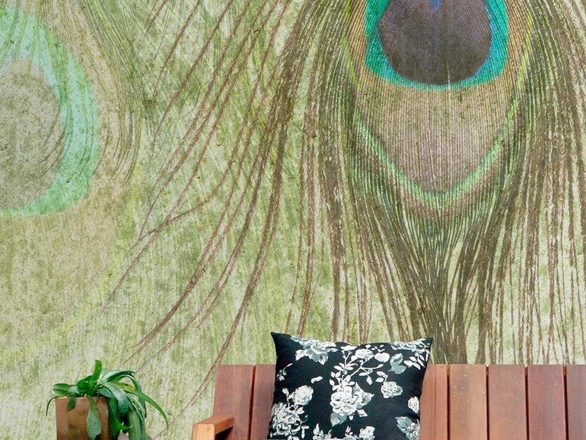 Tropical wallpaper, PVC free, eco, washable PEACOCK FEATHERS by Wallpepper