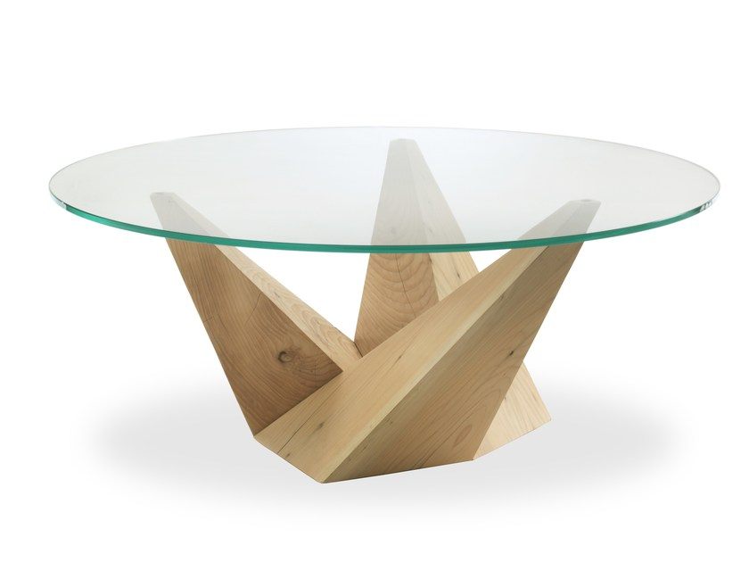 Round wood and glass table PEAK by Riva 1920