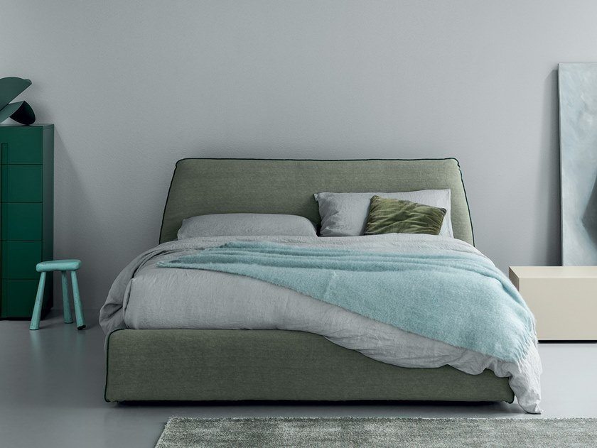 Linen bed with upholstered headboard PEARL by Md House