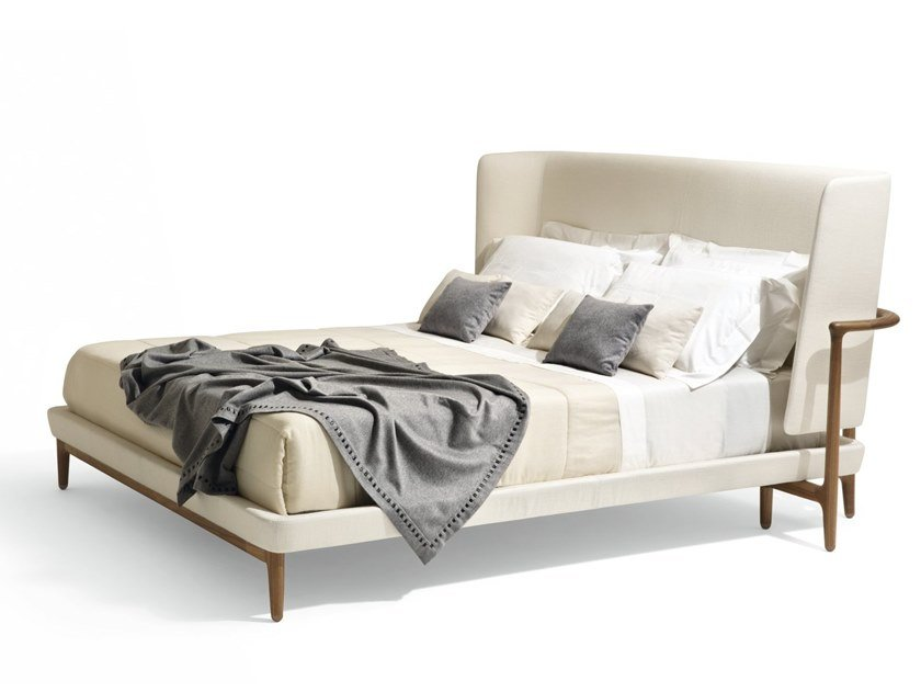 Double bed with upholstered headboard PEGASO by GIORGETTI
