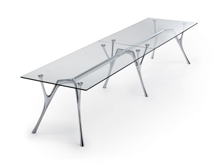 Rectangular glass and aluminium table PEGASO INFINITO by Caimi Brevetti