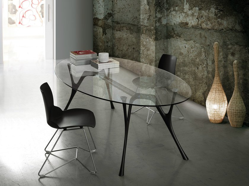 Oval glass and steel table PEGASO | Oval table by Caimi Brevetti