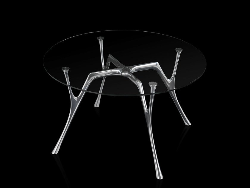 Round glass and steel table PEGASO | Round table by Caimi Brevetti