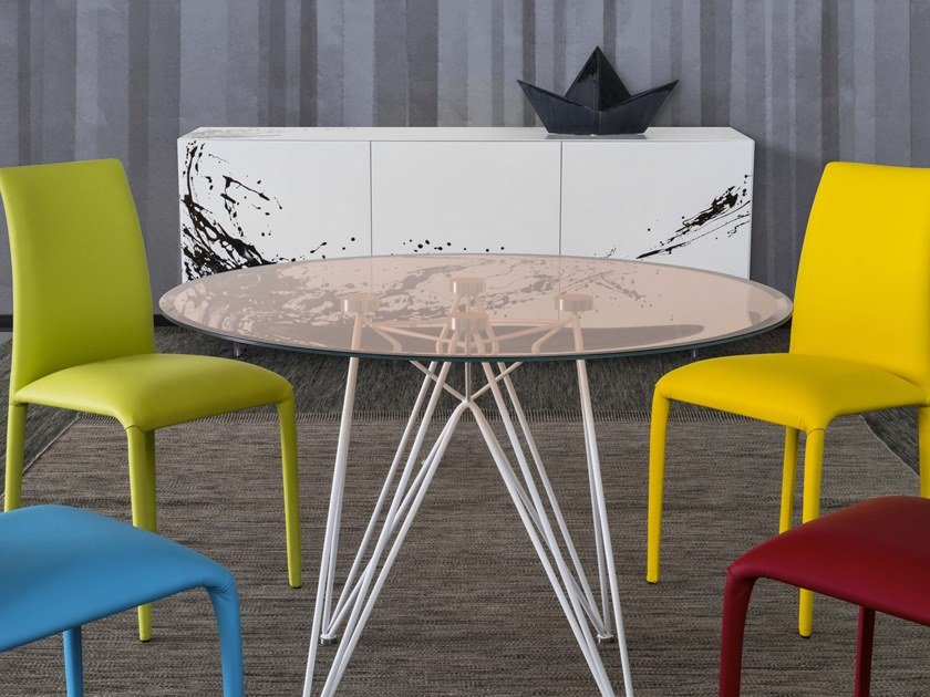 Round tempered glass table PEGASO | Round table by RIFLESSI