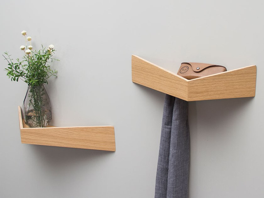 PELICAN LARGE I Wooden shelf with hooks