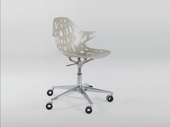 Contemporary style height-adjustable aluminium chair with 5-spoke base with casters PELOTA DESK by Casprini