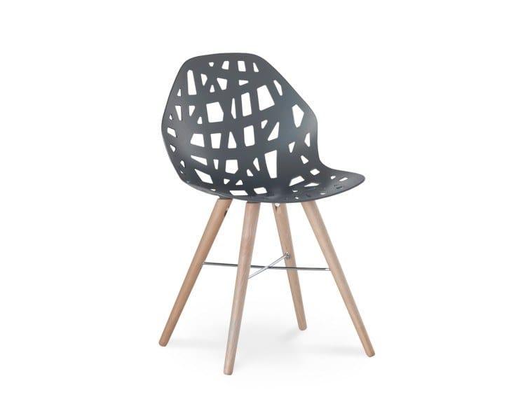 Contemporary style aluminium chair PELOTA WOOD by Casprini