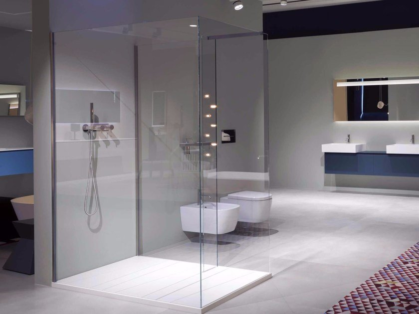 Tempered glass shower cabin with tray PENISOLA by Antonio Lupi Design