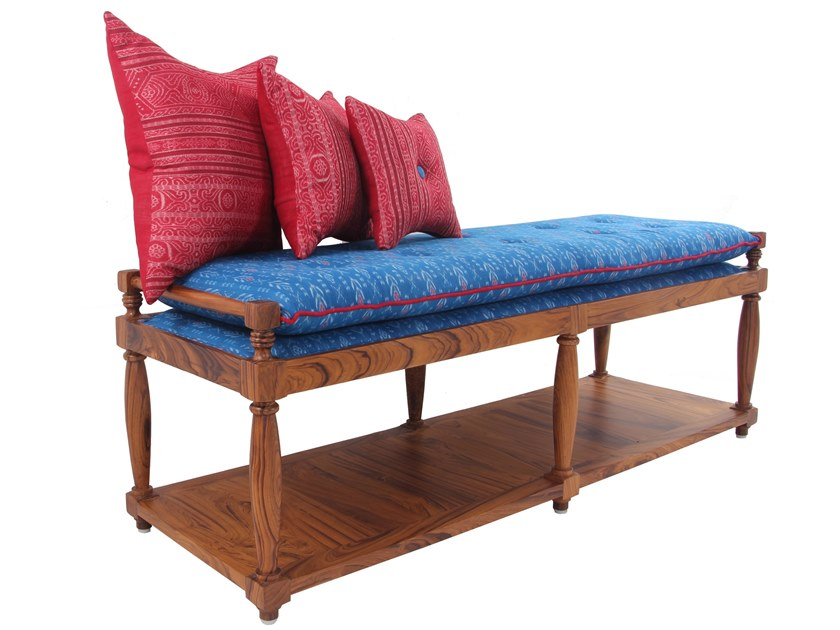Upholstered fabric bench PENKKI | Fabric bench by ALANKARAM
