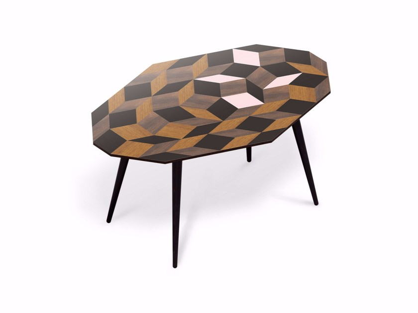 Beech wood and HPL coffee table PENROSE GIANT SPRING WOOD M by Bazartherapy
