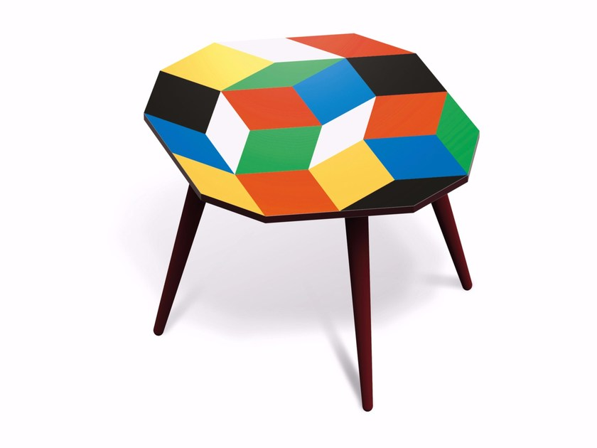 Beech wood and HPL side table PENROSE PRIMARIES M by Bazartherapy