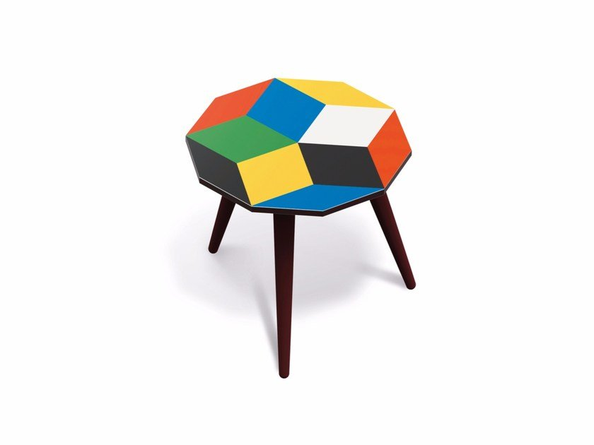 Beech wood and HPL side table PENROSE PRIMARIES S by Bazartherapy