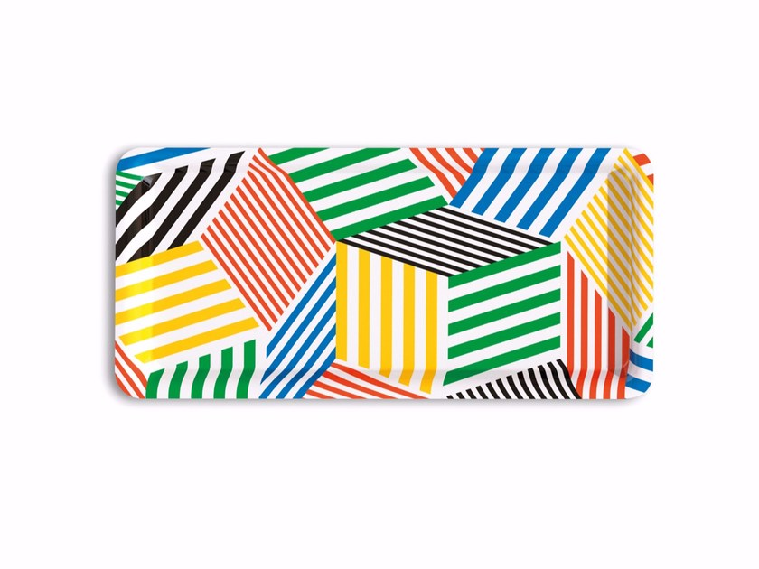 Rectangular multi-layer wood tray PENROSE THE STRIPES by Bazartherapy