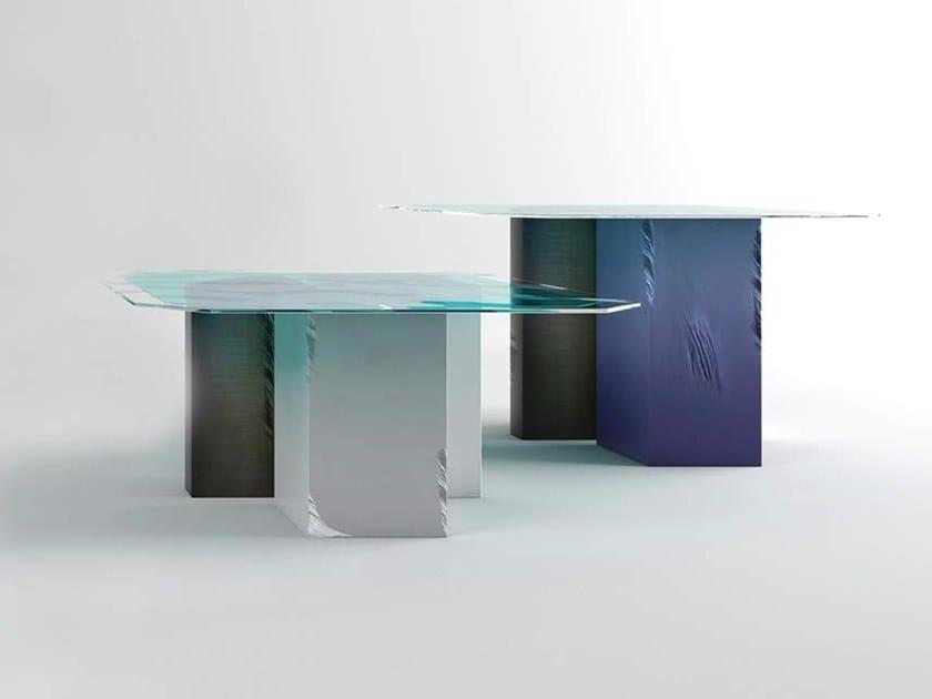 Glass living room table PENTAGON by Adriani e Rossi edizioni