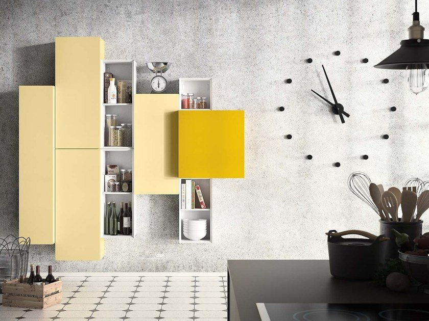 Wall-mounted lacquered storage wall PEOPLE P205 by PIANCA