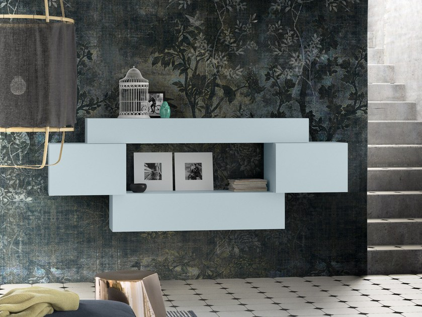 Lacquered floating bookcase PEOPLE P206 by PIANCA