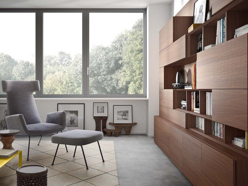 Freestanding wooden bookcase PEOPLE P208 by PIANCA
