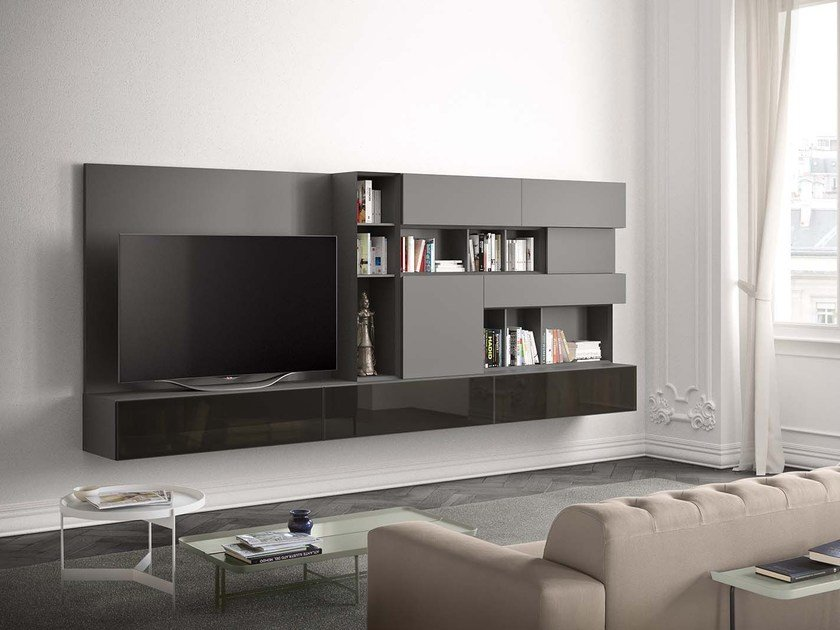 Wall-mounted lacquered storage wall PEOPLE P213 by PIANCA