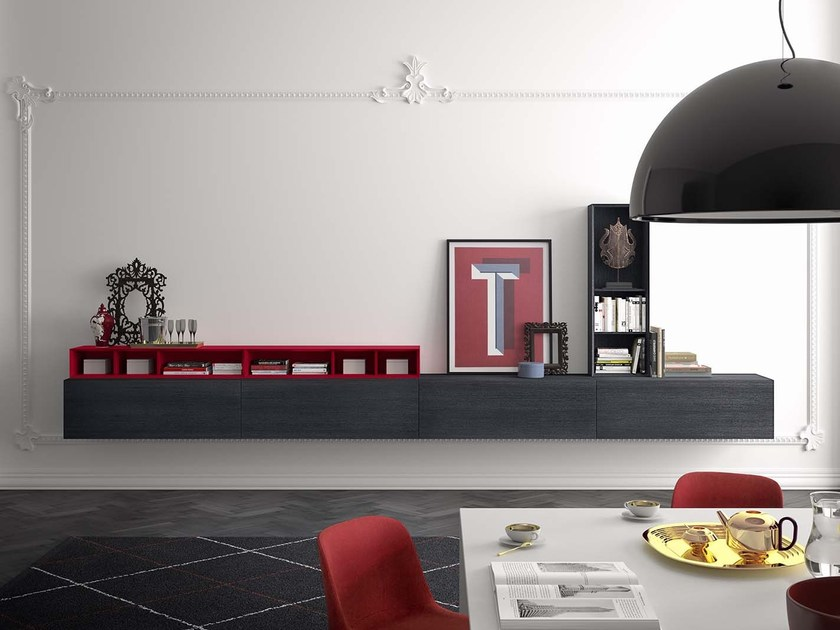 Lacquered suspended sideboard PEOPLE P216 by PIANCA