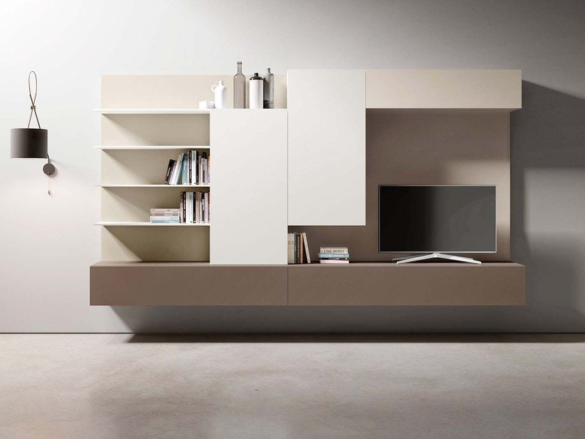 Sectional wall-mounted lacquered storage wall PEOPLE P434 by PIANCA