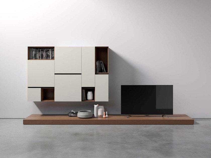 Sectional wall-mounted modular storage wall PEOPLE P441 by PIANCA