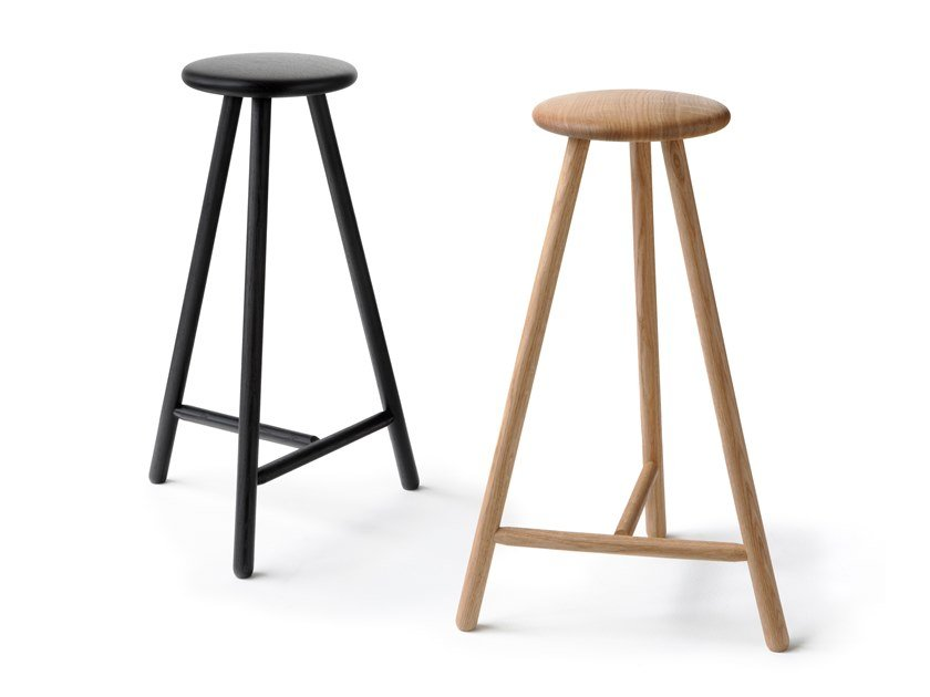 Wooden stool with footrest PERCH by Nikari
