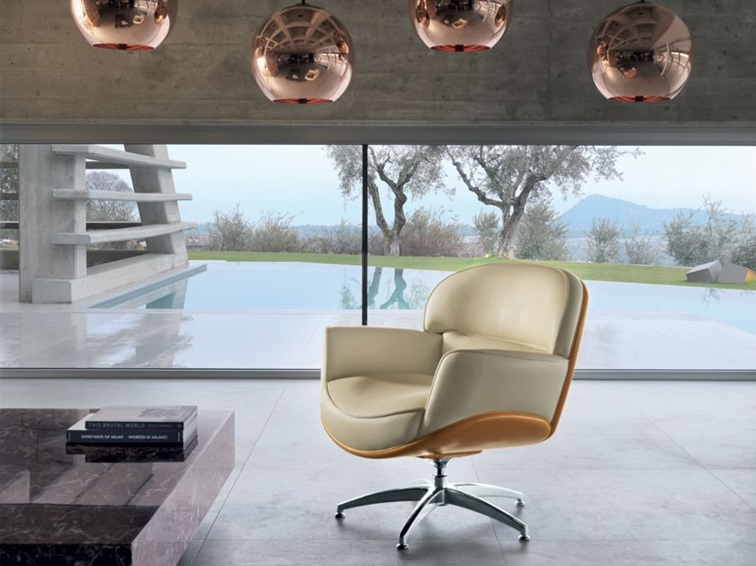 Leather easy chair with armrests PERFECTA | Easy chair by Mascheroni