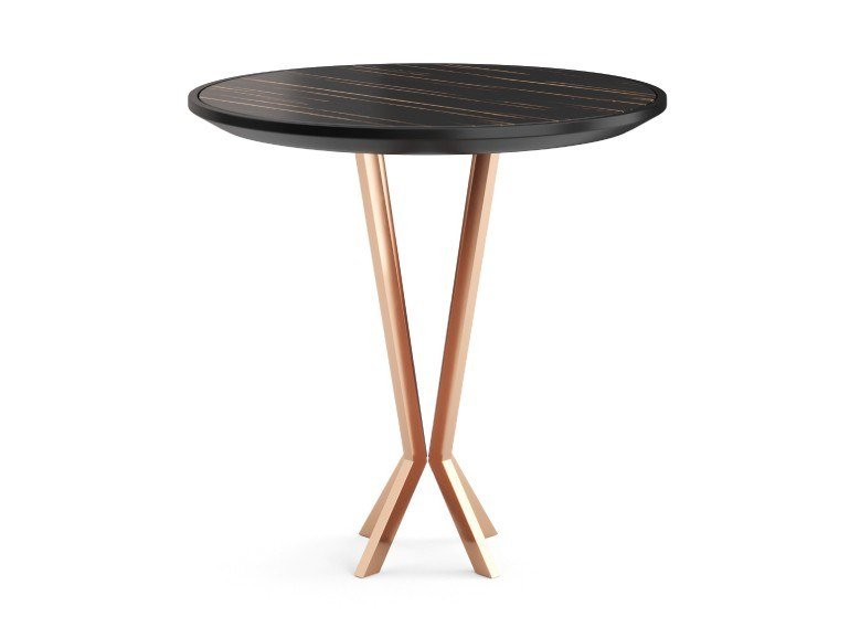 Contemporary style stainless steel side table with 4-star base for living room PERFIDIA by PRADDY
