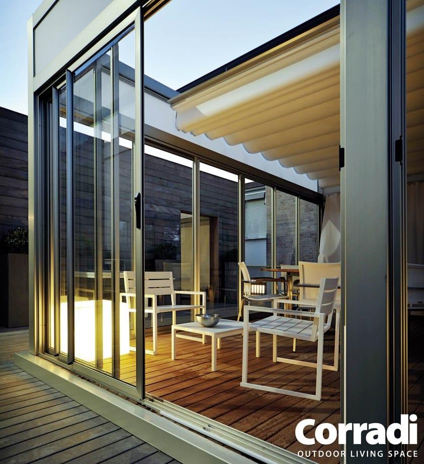 Pergolato in alluminio con copertura scorrevole PERGOTENDA® KUBO ...