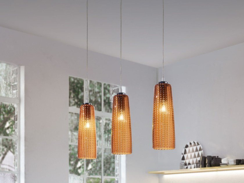 Blown glass pendant lamp PERLE | Pendant lamp by Zafferano