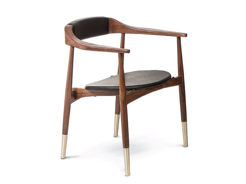 Walnut chair with armrests PERRY   Chair with armrests by Essential Home