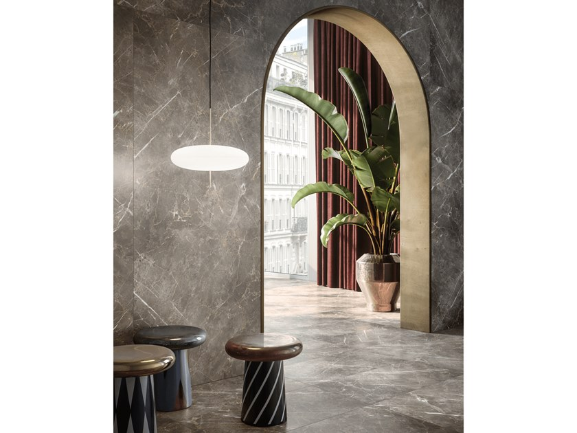 Indoor porcelain stoneware wall/floor tiles with marble effect PERSIAN GREY by CERAMICHE KEOPE