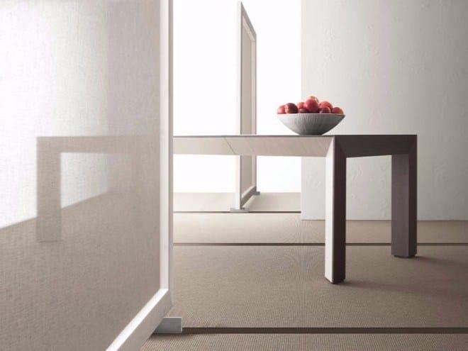 Extending rectangular wooden table PERSPECTIVA by Bauline