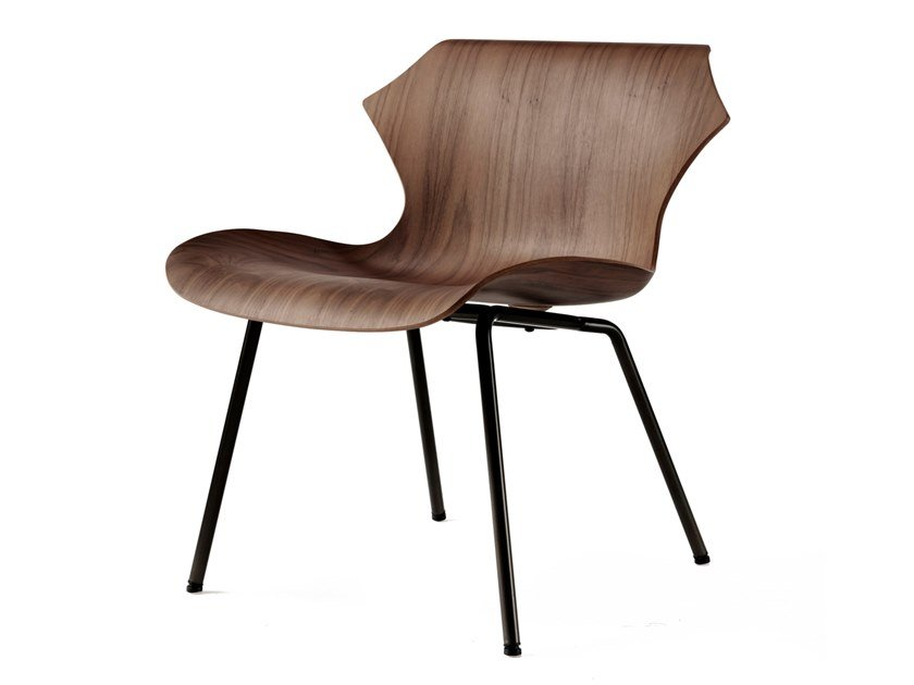 Steel and wood easy chair PETAL | Easy chair by BassamFellows