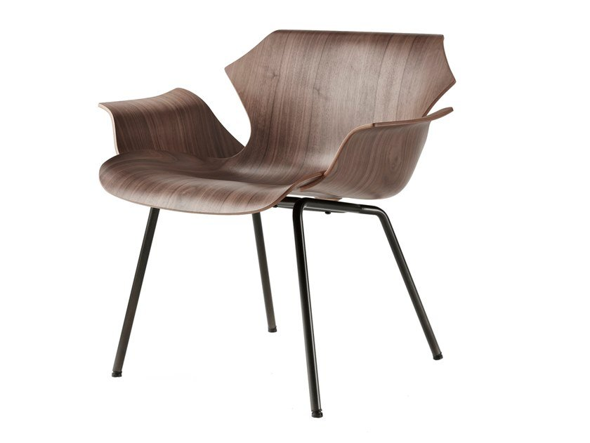 Steel and wood easy chair with armrests PETAL | Easy chair with armrests by BassamFellows