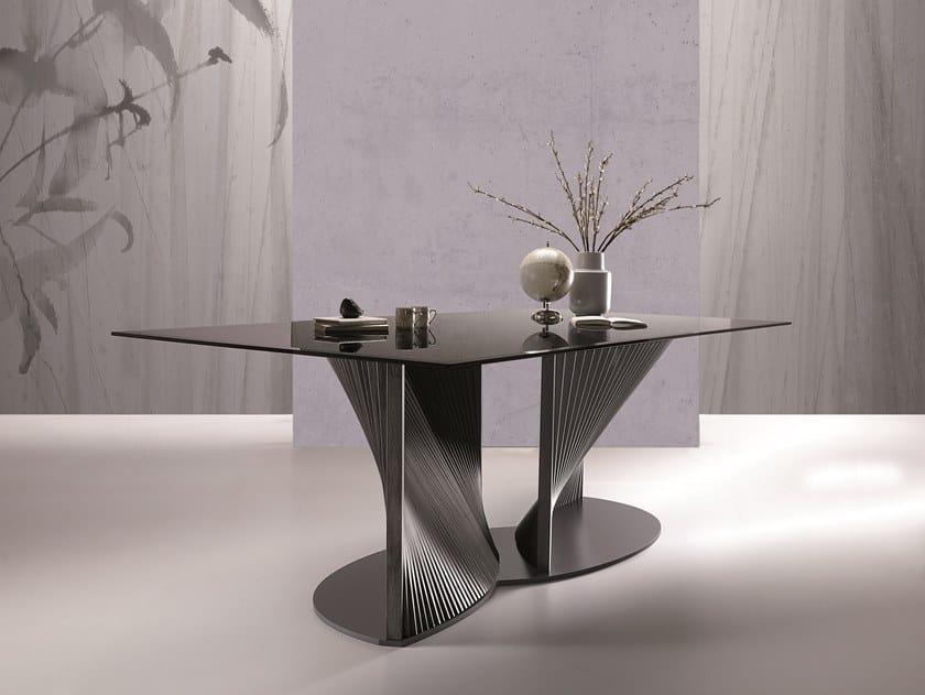 Rectangular glass table PETAL by Natisa