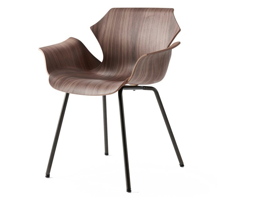 Steel and wood chair with armrests PETAL   Chair with armrests by BassamFellows