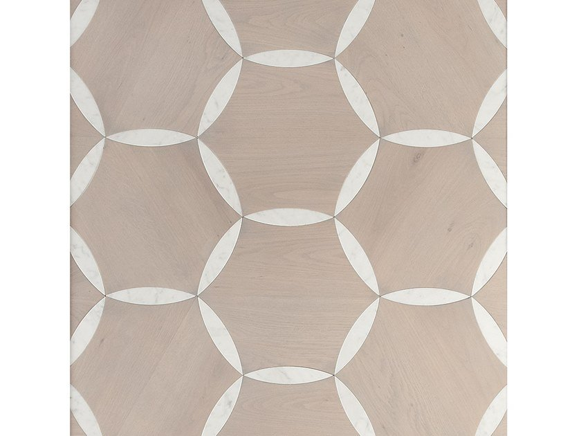 Carrara marble and oak wall/floor tiles PETALI by Palazzo Morelli