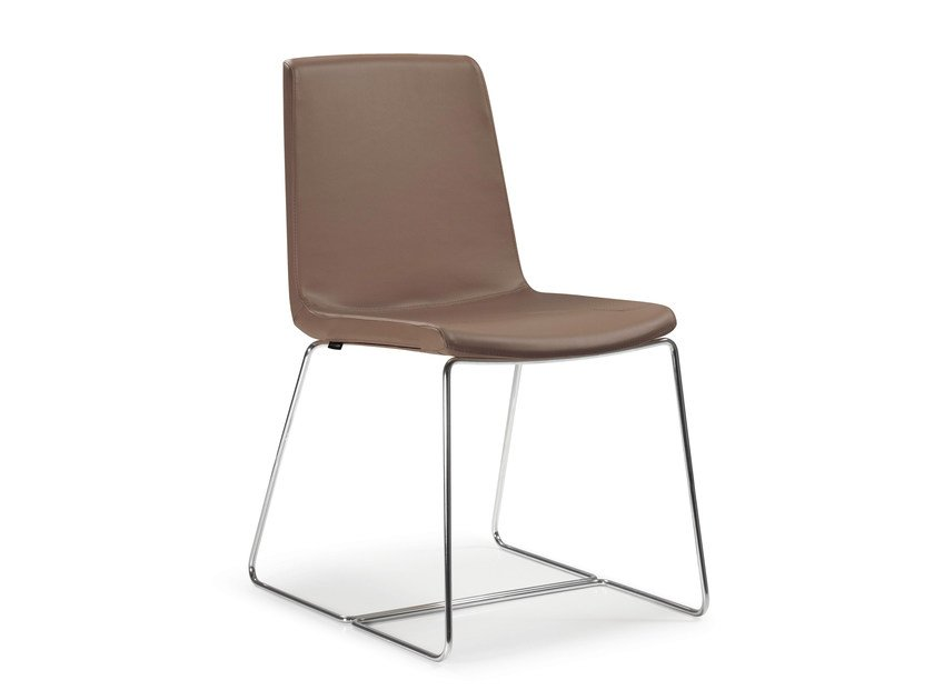 Sled base leather chair PETIT AMELIE | Sled base chair by Quinti Sedute