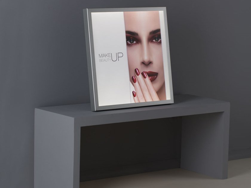 Counter four-sided Anodized aluminium display unit with light PH03 by UNICA by Cantoni