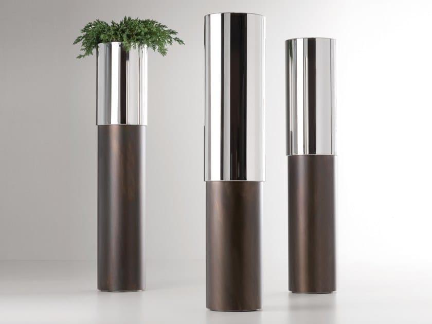 Cachepot in acciaio lucido e ferro PHIL by DE CASTELLI