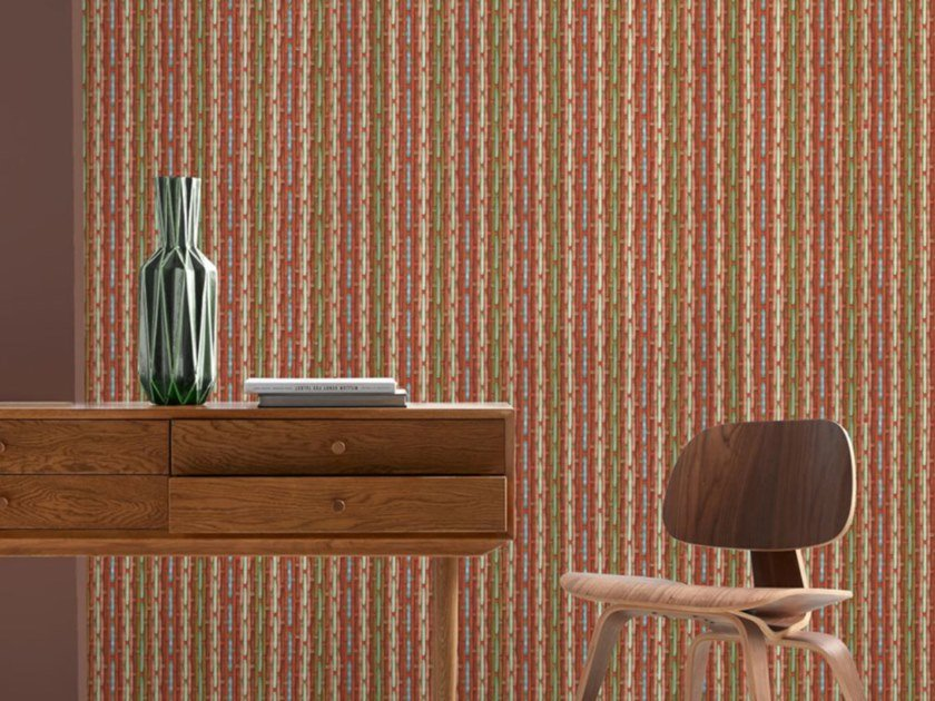 Washable nonwoven wallpaper PHILIPPE MODEL X KOZIEL - RED & BLUE by Koziel