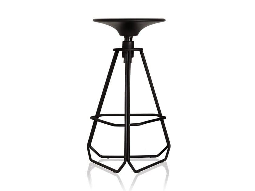 Sgabello da bar in acciaio al carbonio ad altezza regolabile con poggiapiedi PHILLIPS | Sgabello da bar by Sollos