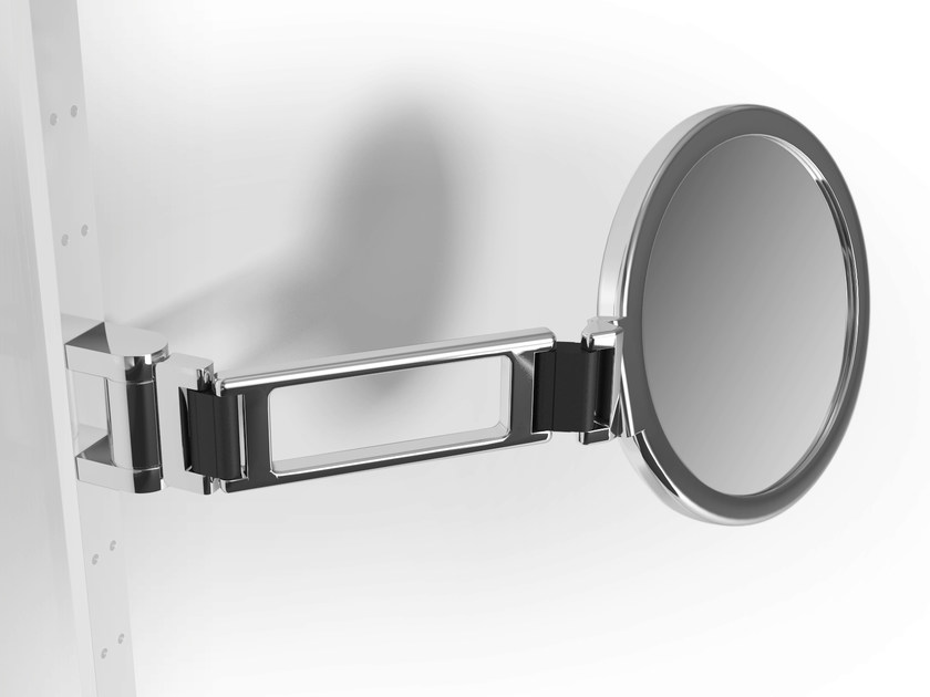 Wall-mounted double-sided round metal shaving mirror PHLOX | Shaving mirror by Alna