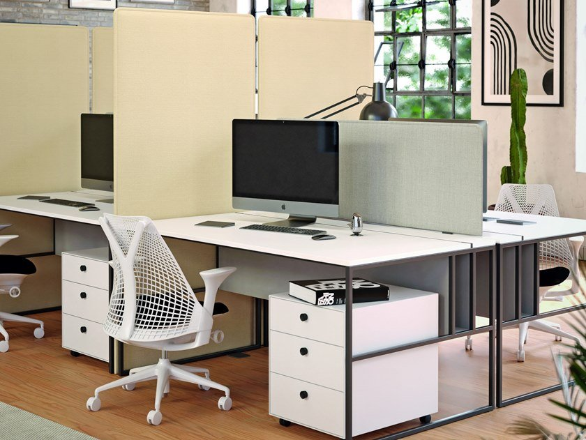 Sound absorbing free standing fabric office screen PHONOLOOK SPACE by ETERNO IVICA