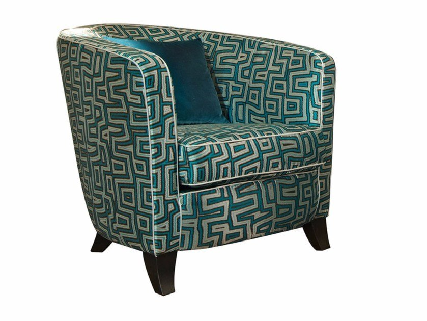 Upholstered fabric armchair with armrests PIA by SOFTHOUSE